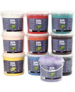 Silk Clay®, 10x650 g, ass. farver , blå