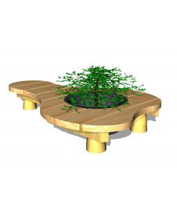 Organisk bænk, med plantekumme Ø45cm