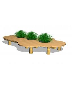 Organisk bænk, med 3 stk plantekar Ø45cm