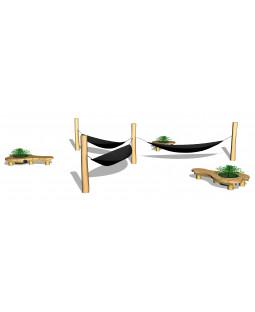 Hængekøjesystem, med organisk bænk, med plantekumme