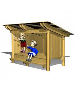 Shelter med bænke