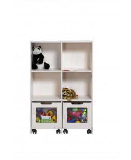 Skabsreol med 4 rum og 2 kasser på hjul - Birkefiner