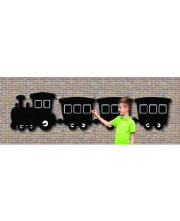 Udendørs tavle med tog