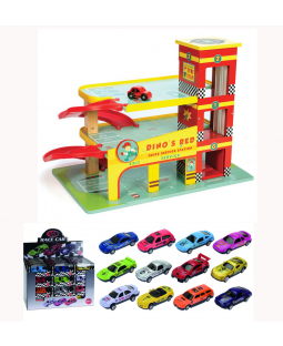 Pakke: Dino Garage + 48 metalbiler