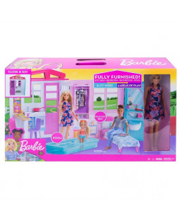 Barbie hus med møbler og tilbehør