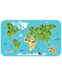 Gulvfolie - Verdenskort med dyr