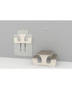 Væghængt klap-op-bord med bænk - 3 stk. - JUBILÆUMSTILBUD