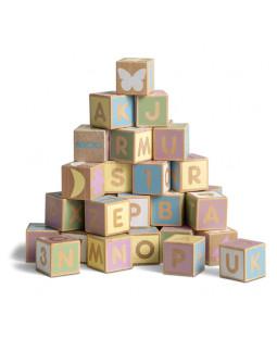 byggeklodser, alfabet, pastel