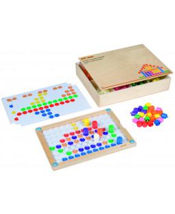 Maxi mosaik lærings spil i træbox.