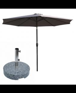 3 parasoller og 3 parasolfødder (35 kg)