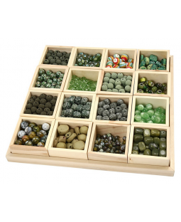 Luksus Perleharmoni, blå/grøn harmoni, inkl. sættekasse med 16 rum