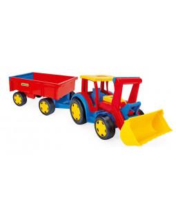 Mega traktor med grab og anhænger