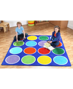 Regnbue cirkel tæppe 2x2m