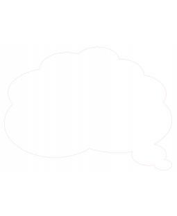Whiteboard med form som tankeboble